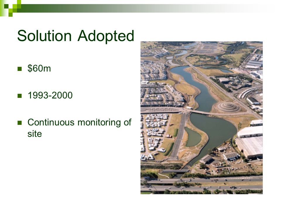 Solution Adopted $60m 1993-2000 Continuous monitoring of site