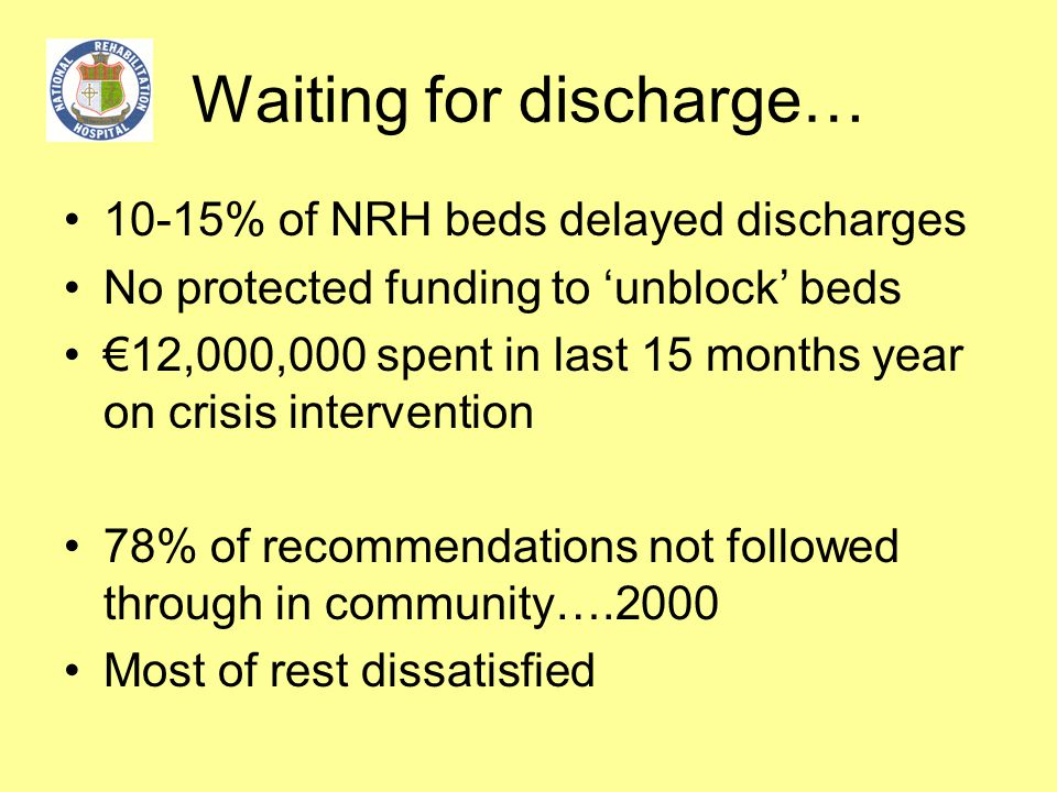 Waiting for discharge… 10-15% of NRH beds delayed discharges No protected funding to 'unblock' beds €12,000,000 spent in last 15 months year on crisis