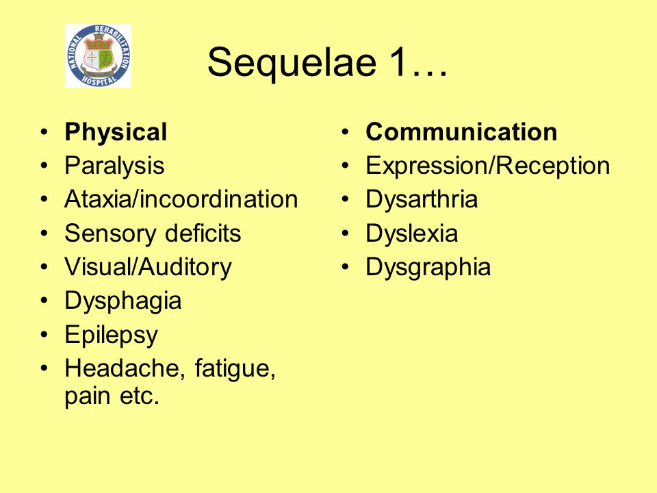 Sequelae 1… Physical Paralysis Ataxia/incoordination Sensory deficits Visual/Auditory Dysphagia Epilepsy Headache, fatigue, pain etc. Communication Ex