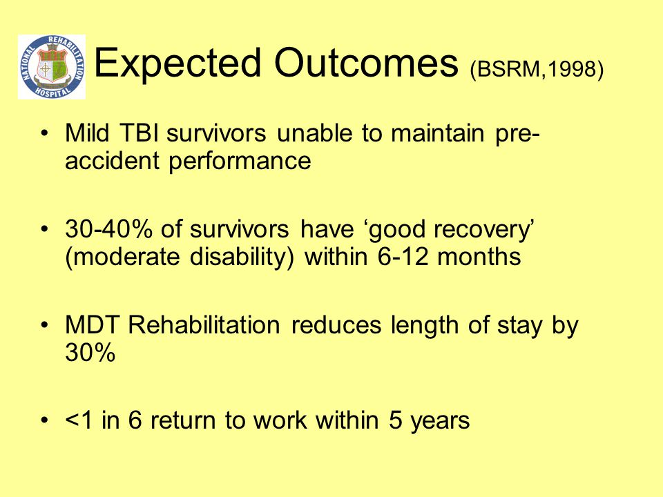 Expected Outcomes (BSRM,1998) Mild TBI survivors unable to maintain pre- accident performance 30-40% of survivors have 'good recovery' (moderate disab