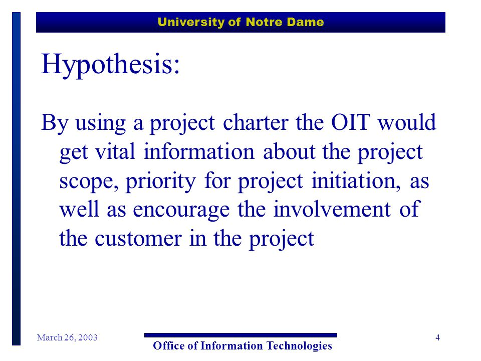 University of Notre Dame Office of Information Technologies March 26, 20035 The Initial Process  We assigned each project manager a share of the known project requests  The project managers went to the project requestor and helped them fill out a project charter  We held Rank-o-Rama to assign an initial priority to the chartered projects