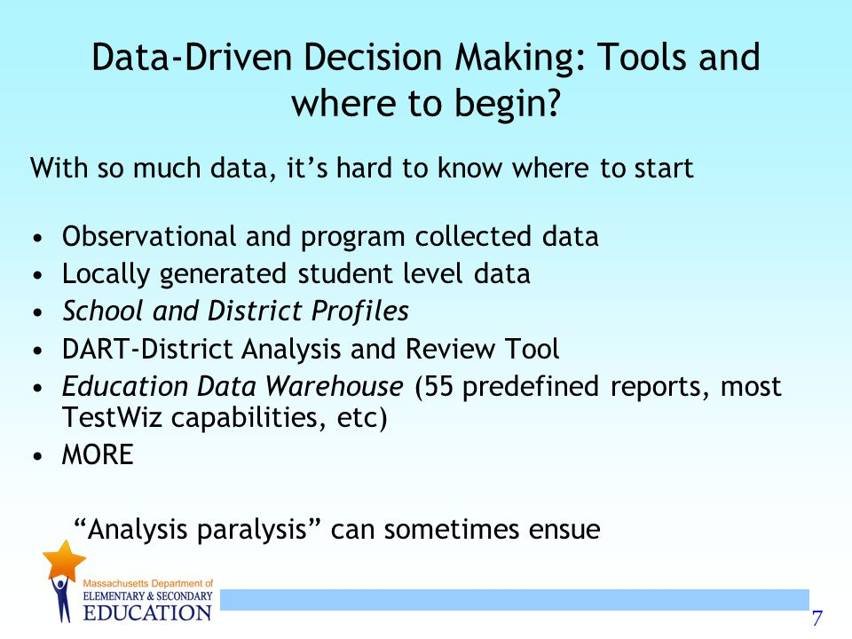 7 Data-Driven Decision Making: Tools and where to begin.