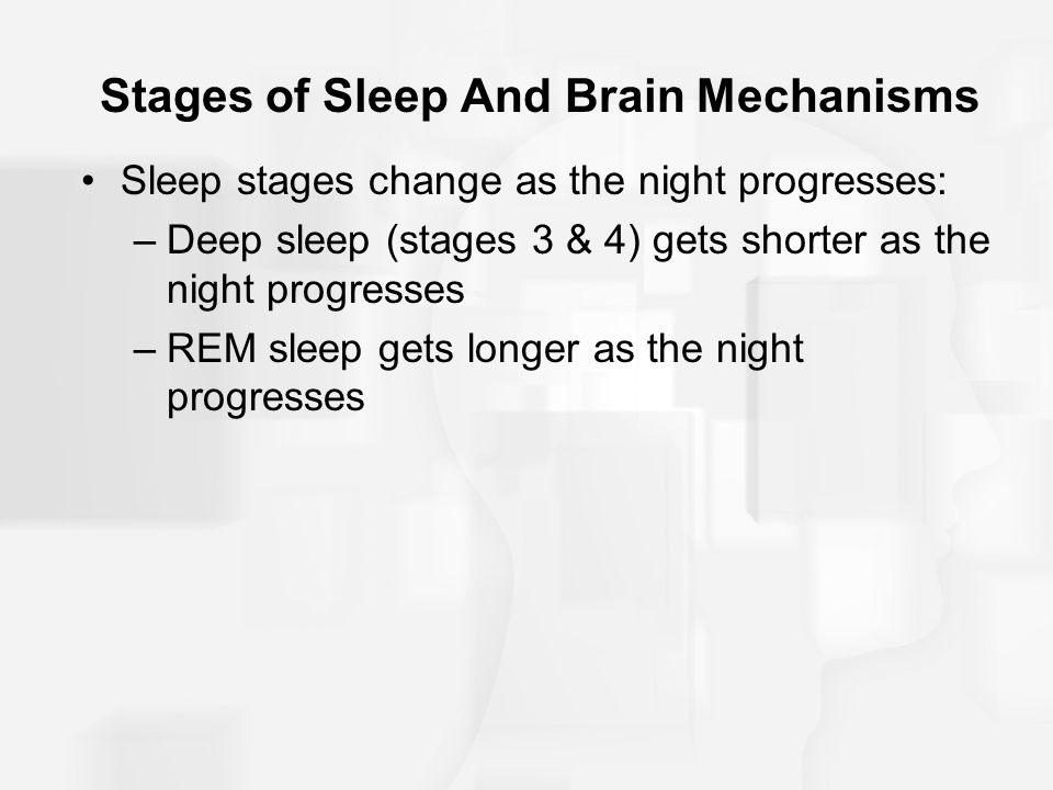 Stages of Sleep And Brain Mechanisms Sleep stages change as the night progresses: –Deep sleep (stages 3 & 4) gets shorter as the night progresses –REM sleep gets longer as the night progresses