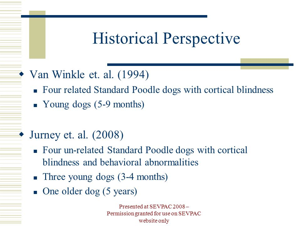Historical Perspective  Van Winkle et. al. (1994) Four related Standard Poodle dogs with cortical blindness Young dogs (5-9 months)  Jurney et. al.