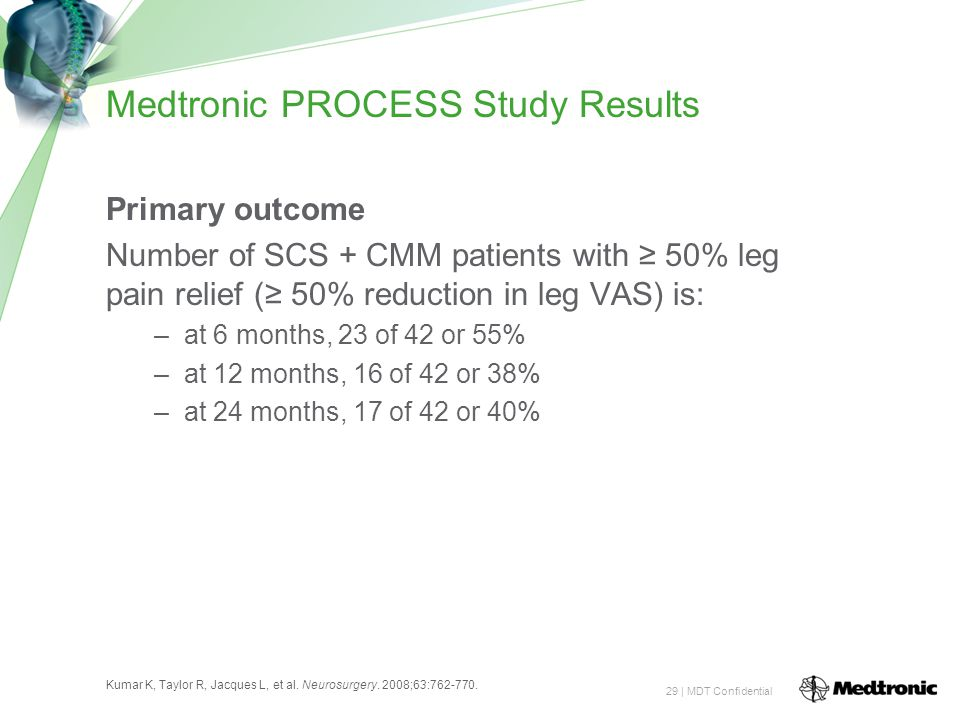 29 | MDT Confidential Medtronic PROCESS Study Results Primary outcome Number of SCS + CMM patients with ≥ 50% leg pain relief (≥ 50% reduction in leg VAS) is: –at 6 months, 23 of 42 or 55% –at 12 months, 16 of 42 or 38% –at 24 months, 17 of 42 or 40% Kumar K, Taylor R, Jacques L, et al.