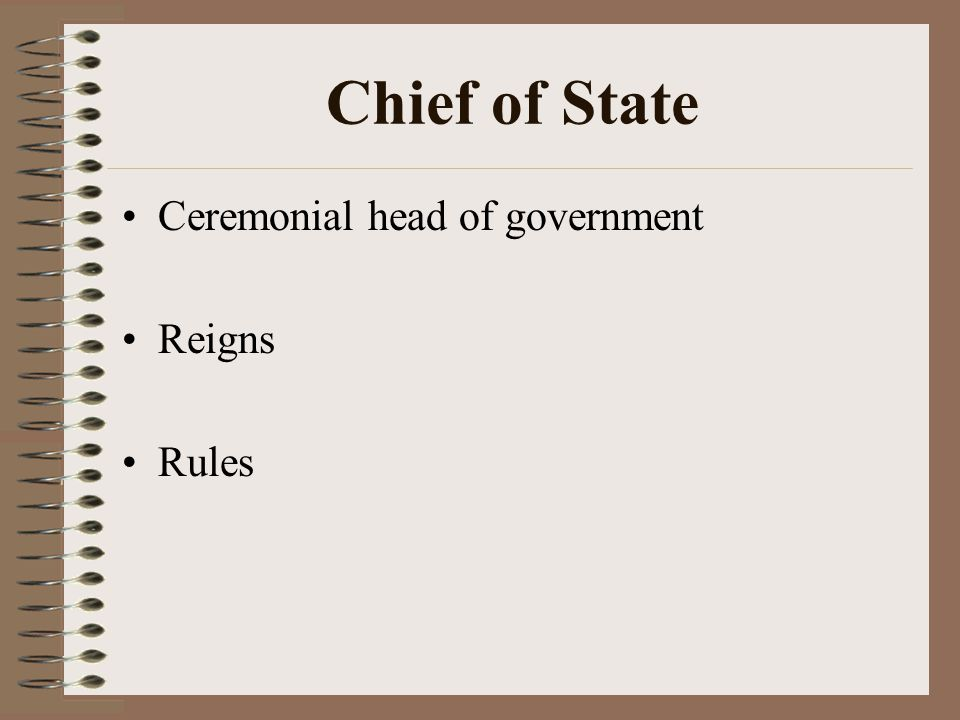 Chief of State Ceremonial head of government Reigns Rules