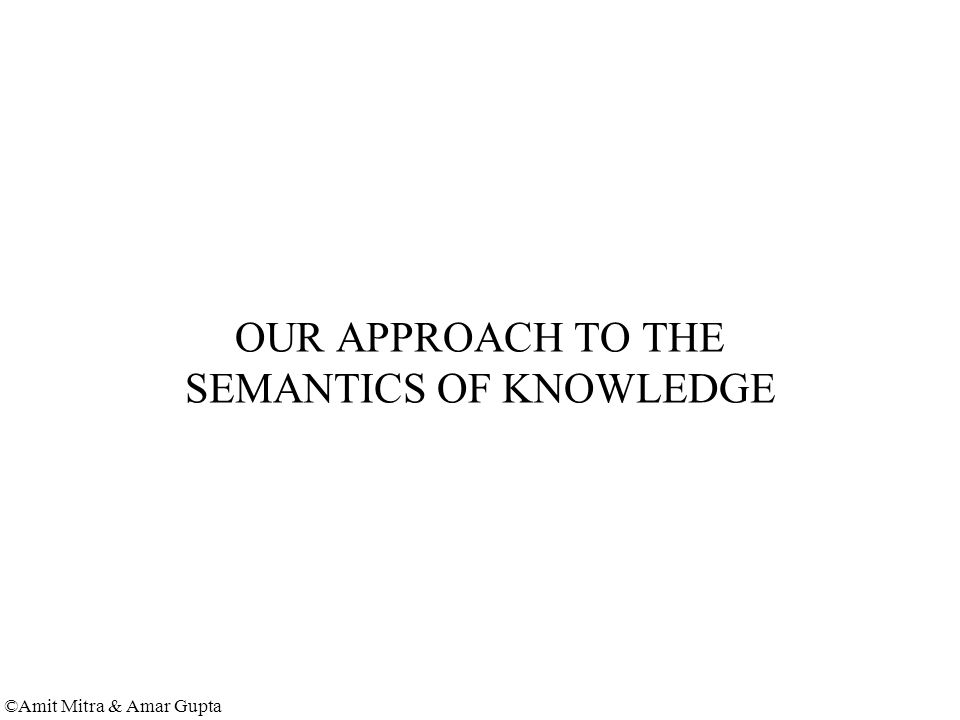 ©Amit Mitra & Amar Gupta OUR APPROACH TO THE SEMANTICS OF KNOWLEDGE