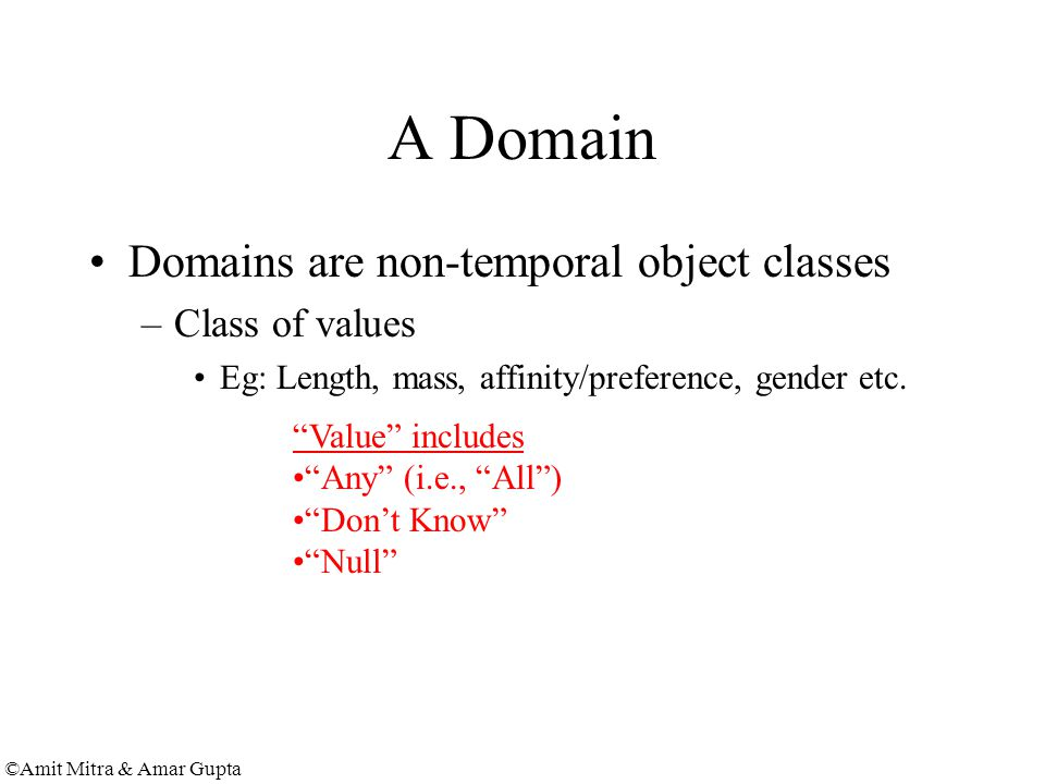 ©Amit Mitra & Amar Gupta A Domain Domains are non-temporal object classes –Class of values Eg: Length, mass, affinity/preference, gender etc.