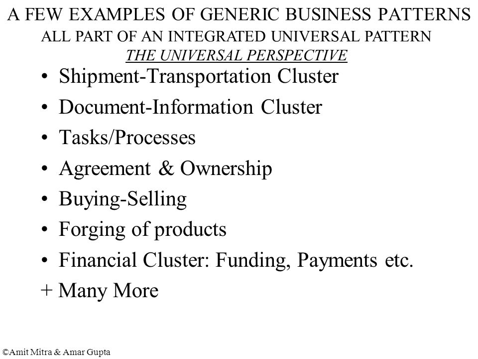 ©Amit Mitra & Amar Gupta A FEW EXAMPLES OF GENERIC BUSINESS PATTERNS Shipment-Transportation Cluster Document-Information Cluster Tasks/Processes Agreement & Ownership Buying-Selling Forging of products Financial Cluster: Funding, Payments etc.