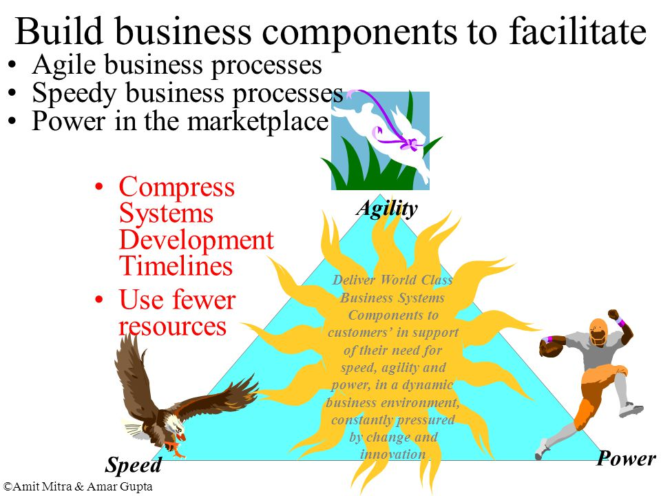 ©Amit Mitra & Amar Gupta Build business components to facilitate Speed Power Deliver World Class Business Systems Components to customers' in support of their need for speed, agility and power, in a dynamic business environment, constantly pressured by change and innovation Agility Agile business processes Speedy business processes Power in the marketplace Compress Systems Development Timelines Use fewer resources