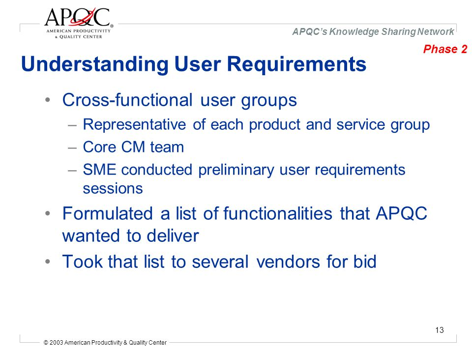 © 2003 American Productivity & Quality Center APQC's Knowledge Sharing Network 13 Understanding User Requirements Cross-functional user groups –Representative of each product and service group –Core CM team –SME conducted preliminary user requirements sessions Formulated a list of functionalities that APQC wanted to deliver Took that list to several vendors for bid Phase 2