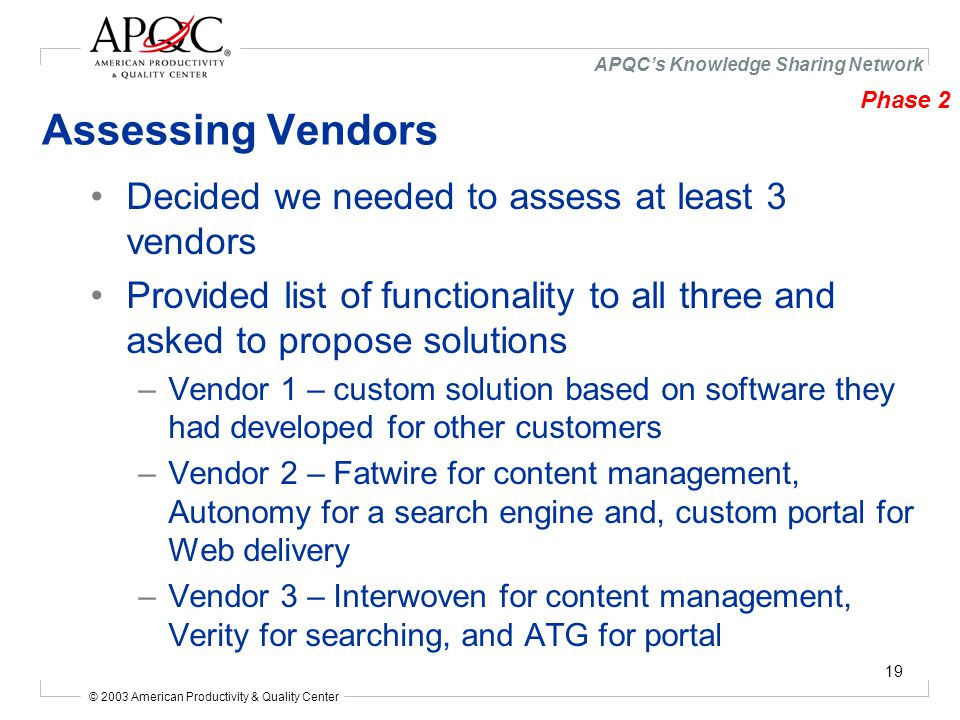 © 2003 American Productivity & Quality Center APQC's Knowledge Sharing Network 19 Assessing Vendors Decided we needed to assess at least 3 vendors Provided list of functionality to all three and asked to propose solutions –Vendor 1 – custom solution based on software they had developed for other customers –Vendor 2 – Fatwire for content management, Autonomy for a search engine and, custom portal for Web delivery –Vendor 3 – Interwoven for content management, Verity for searching, and ATG for portal Phase 2