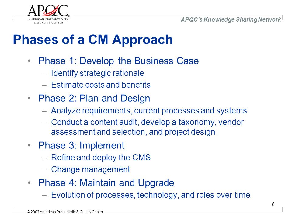 © 2003 American Productivity & Quality Center APQC's Knowledge Sharing Network 8 Phases of a CM Approach Phase 1: Develop the Business Case –Identify strategic rationale –Estimate costs and benefits Phase 2: Plan and Design –Analyze requirements, current processes and systems –Conduct a content audit, develop a taxonomy, vendor assessment and selection, and project design Phase 3: Implement –Refine and deploy the CMS –Change management Phase 4: Maintain and Upgrade –Evolution of processes, technology, and roles over time