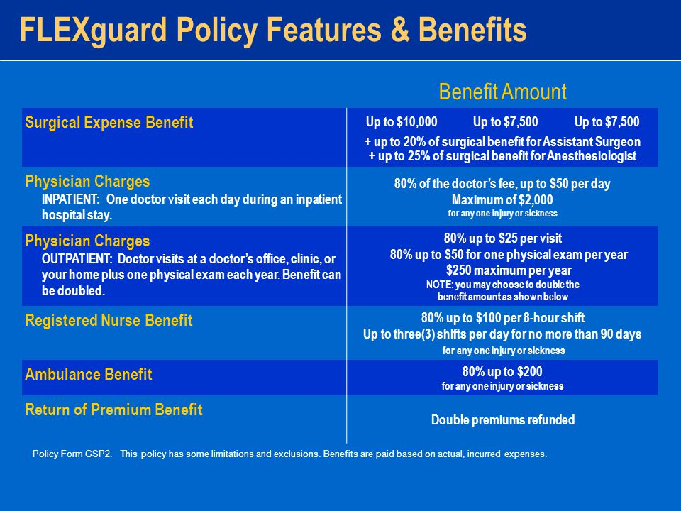 FLEXguard Policy Features & Benefits Policy Form GSP2.