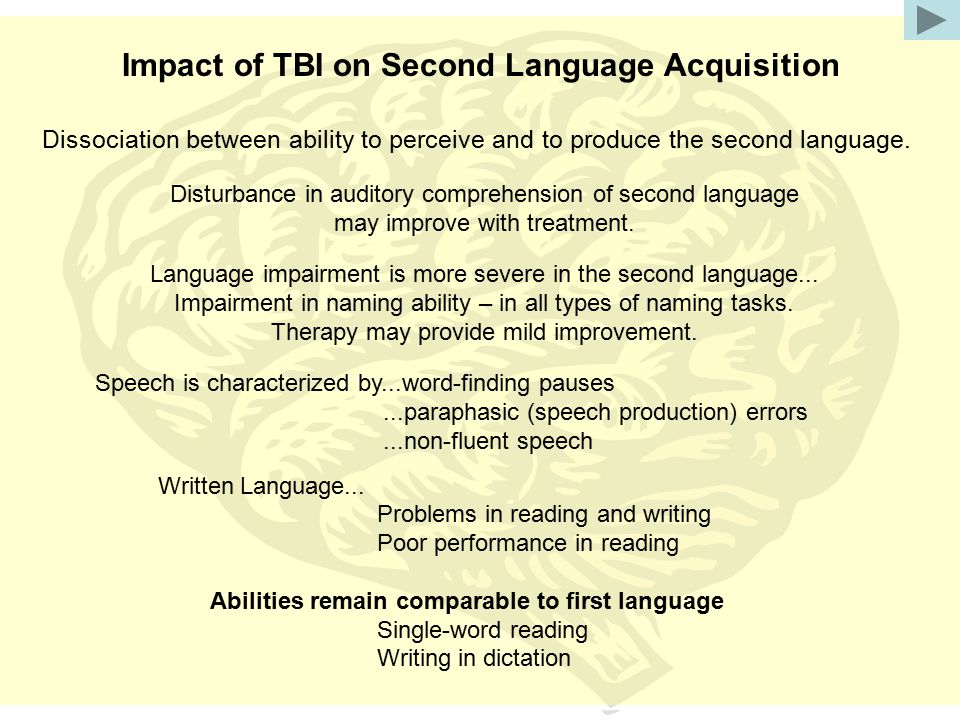 Impact of TBI on Second Language Acquisition Dissociation between ability to perceive and to produce the second language. Disturbance in auditory comp