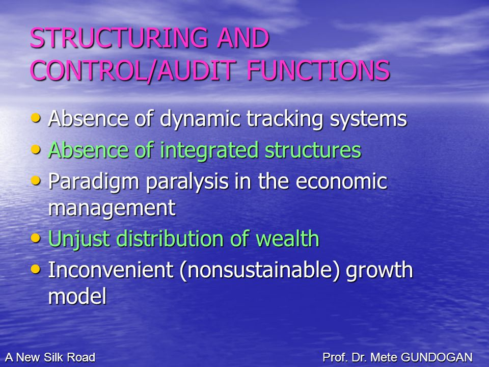 STRUCTURING AND CONTROL/AUDIT FUNCTIONS Absence of dynamic tracking systems Absence of dynamic tracking systems Absence of integrated structures Absence of integrated structures Paradigm paralysis in the economic management Paradigm paralysis in the economic management Unjust distribution of wealth Unjust distribution of wealth Inconvenient (nonsustainable) growth model Inconvenient (nonsustainable) growth model A New Silk Road Prof.