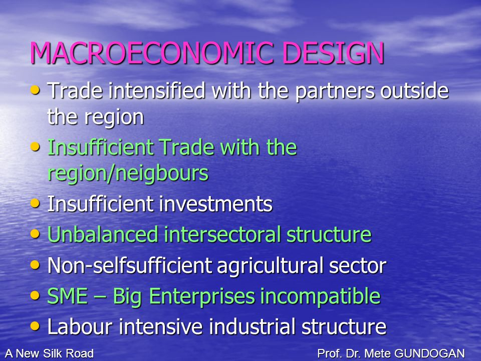 MACROECONOMIC DESIGN Trade intensified with the partners outside the region Trade intensified with the partners outside the region Insufficient Trade with the region/neigbours Insufficient Trade with the region/neigbours Insufficient investments Insufficient investments Unbalanced intersectoral structure Unbalanced intersectoral structure Non-selfsufficient agricultural sector Non-selfsufficient agricultural sector SME – Big Enterprises incompatible SME – Big Enterprises incompatible Labour intensive industrial structure Labour intensive industrial structure A New Silk Road Prof.
