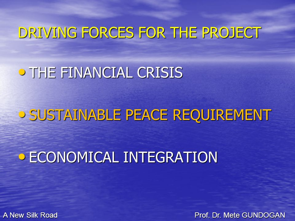 DRIVING FORCES FOR THE PROJECT THE FINANCIAL CRISIS THE FINANCIAL CRISIS SUSTAINABLE PEACE REQUIREMENT SUSTAINABLE PEACE REQUIREMENT ECONOMICAL INTEGRATION ECONOMICAL INTEGRATION A New Silk Road Prof.