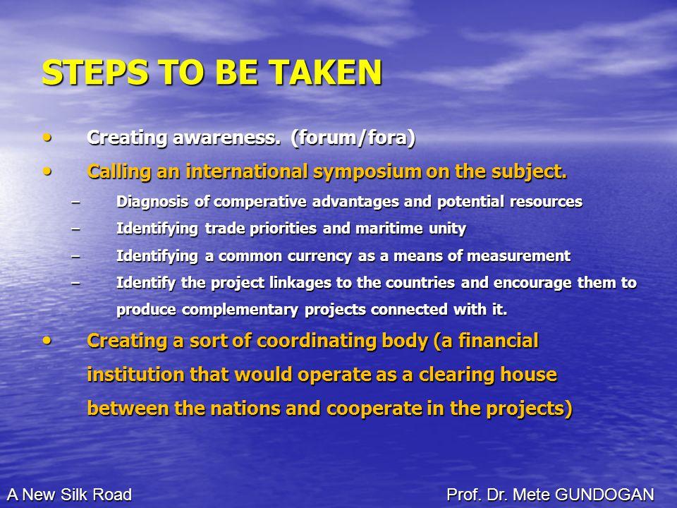 STEPS TO BE TAKEN Creating awareness. (forum/fora) Creating awareness.