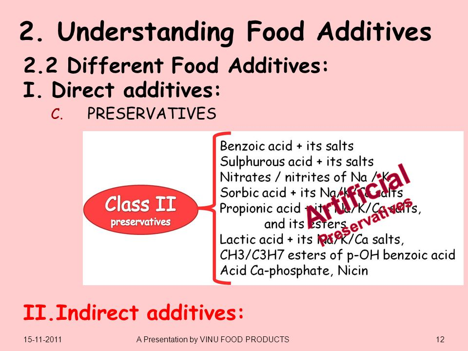 I.Direct additives: II.Indirect additives: 1215-11-2011A Presentation by VINU FOOD PRODUCTS 2.2 Different Food Additives: C.