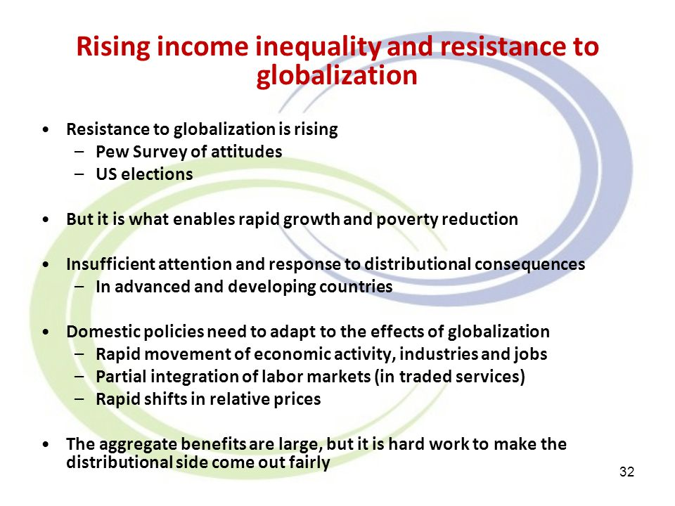 Rising income inequality and resistance to globalization Resistance to globalization is rising –Pew Survey of attitudes –US elections But it is what e