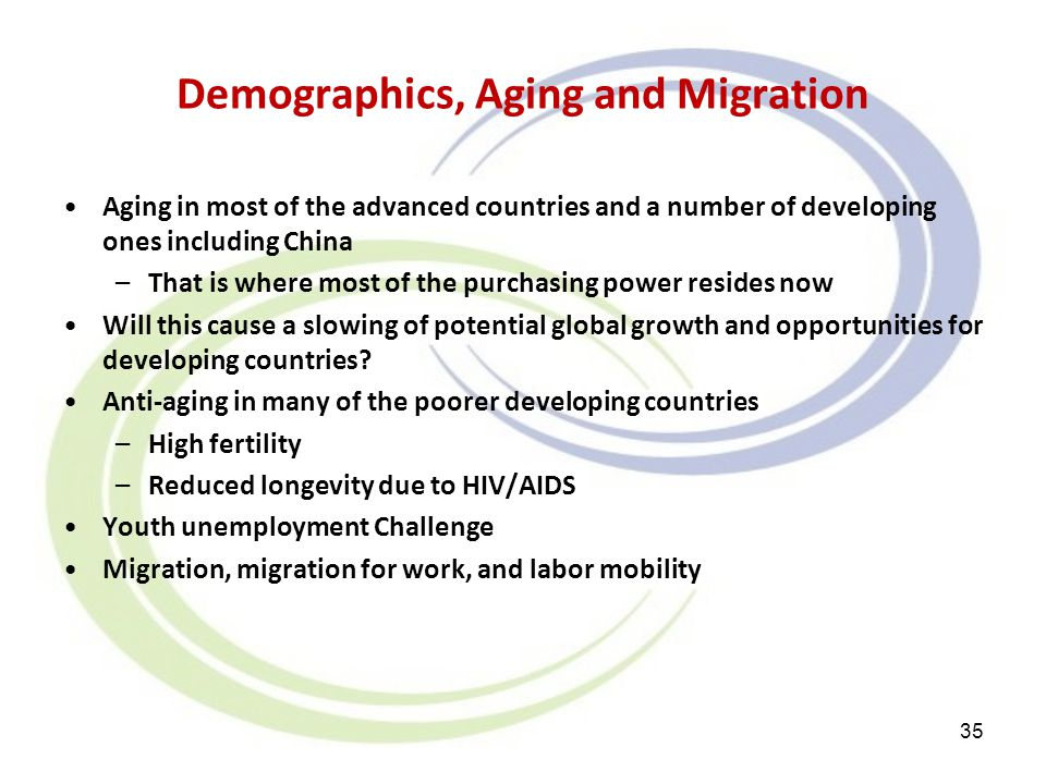 Demographics, Aging and Migration Aging in most of the advanced countries and a number of developing ones including China –That is where most of the p
