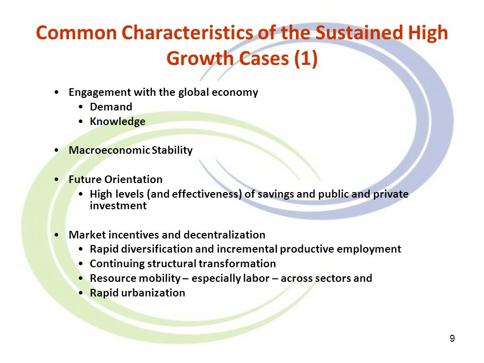 9 Common Characteristics of the Sustained High Growth Cases (1) Engagement with the global economy Demand Knowledge Macroeconomic Stability Future Ori