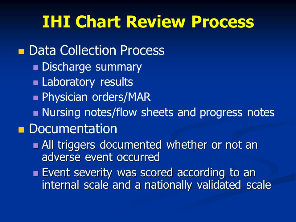 IHI Chart Review Process Data Collection Process Discharge summary Laboratory results Physician orders/MAR Nursing notes/flow sheets and progress notes Documentation All triggers documented whether or not an adverse event occurred All triggers documented whether or not an adverse event occurred Event severity was scored according to an internal scale and a nationally validated scale Event severity was scored according to an internal scale and a nationally validated scale