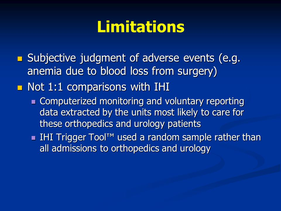 Limitations Subjective judgment of adverse events (e.g.