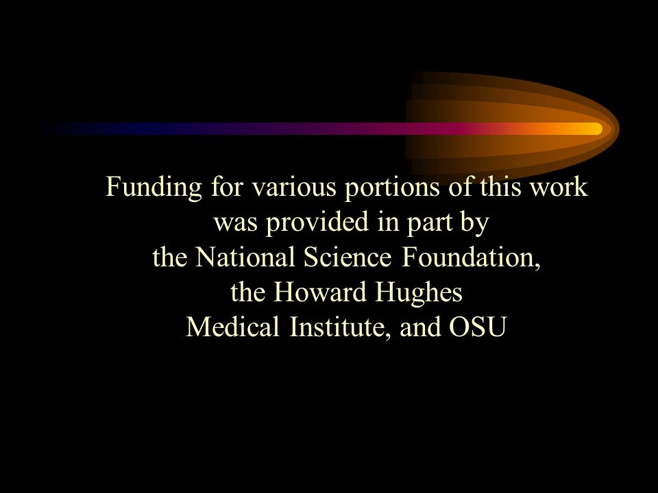 Funding for various portions of this work was provided in part by the National Science Foundation, the Howard Hughes Medical Institute, and OSU