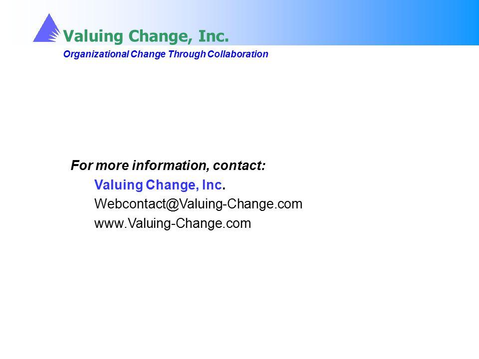 Valuing Change, Inc. Organizational Change Through Collaboration Valuing Change, Inc. Organizational Change Through Collaboration For more information