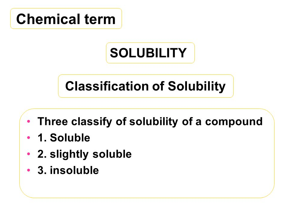 Classification of Solubility Three classify of solubility of a compound 1.