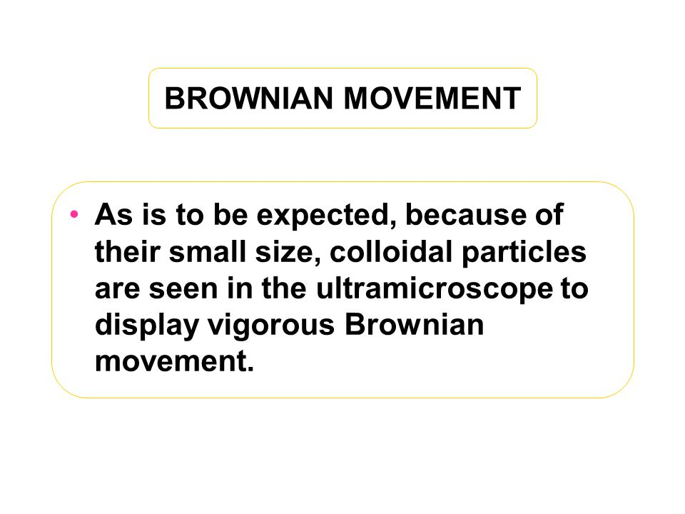 BROWNIAN MOVEMENT As is to be expected, because of their small size, colloidal particles are seen in the ultramicroscope to display vigorous Brownian movement.