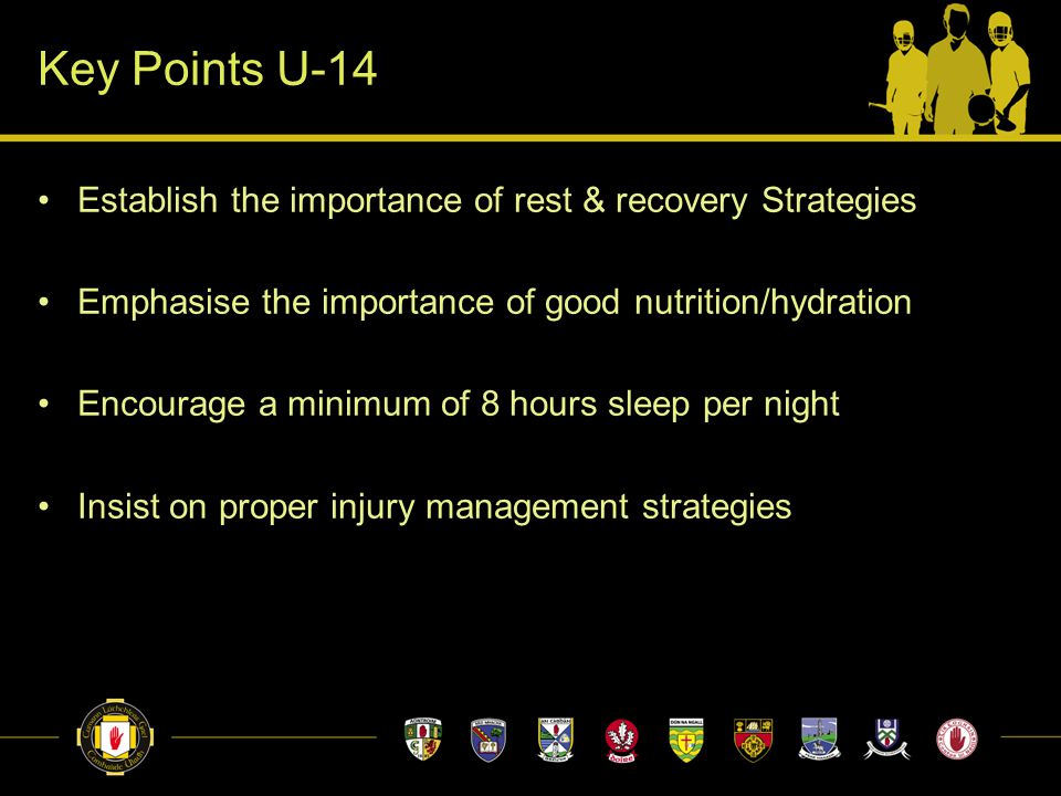 Key Points U-14 Establish the importance of rest & recovery Strategies Emphasise the importance of good nutrition/hydration Encourage a minimum of 8 h