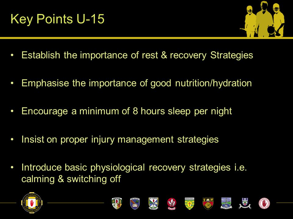 Key Points U-15 Establish the importance of rest & recovery Strategies Emphasise the importance of good nutrition/hydration Encourage a minimum of 8 h