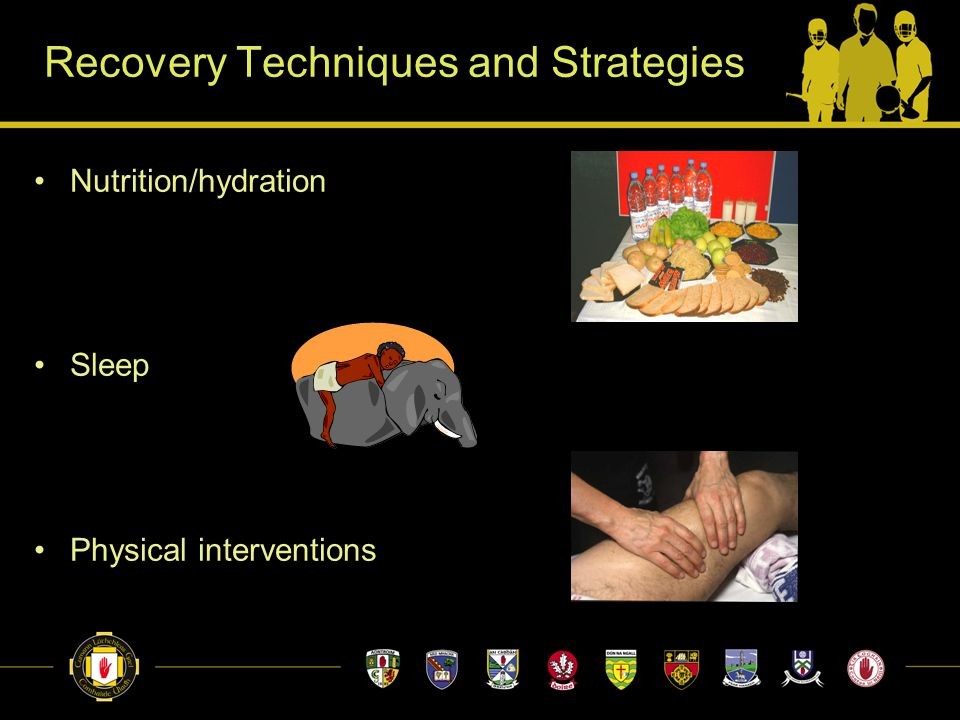 Recovery Techniques and Strategies Nutrition/hydration Sleep Physical interventions