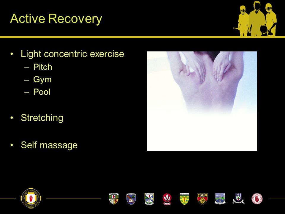 Active Recovery Light concentric exercise –Pitch –Gym –Pool Stretching Self massage