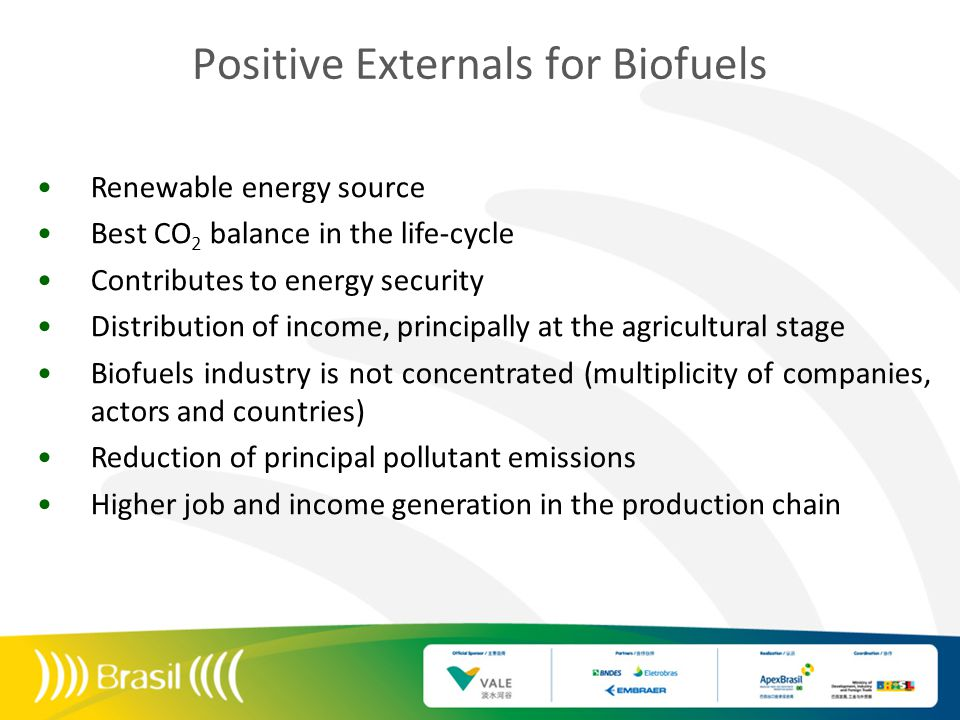 Positive Externals for Biofuels Renewable energy source Best CO 2 balance in the life-cycle Contributes to energy security Distribution of income, pri