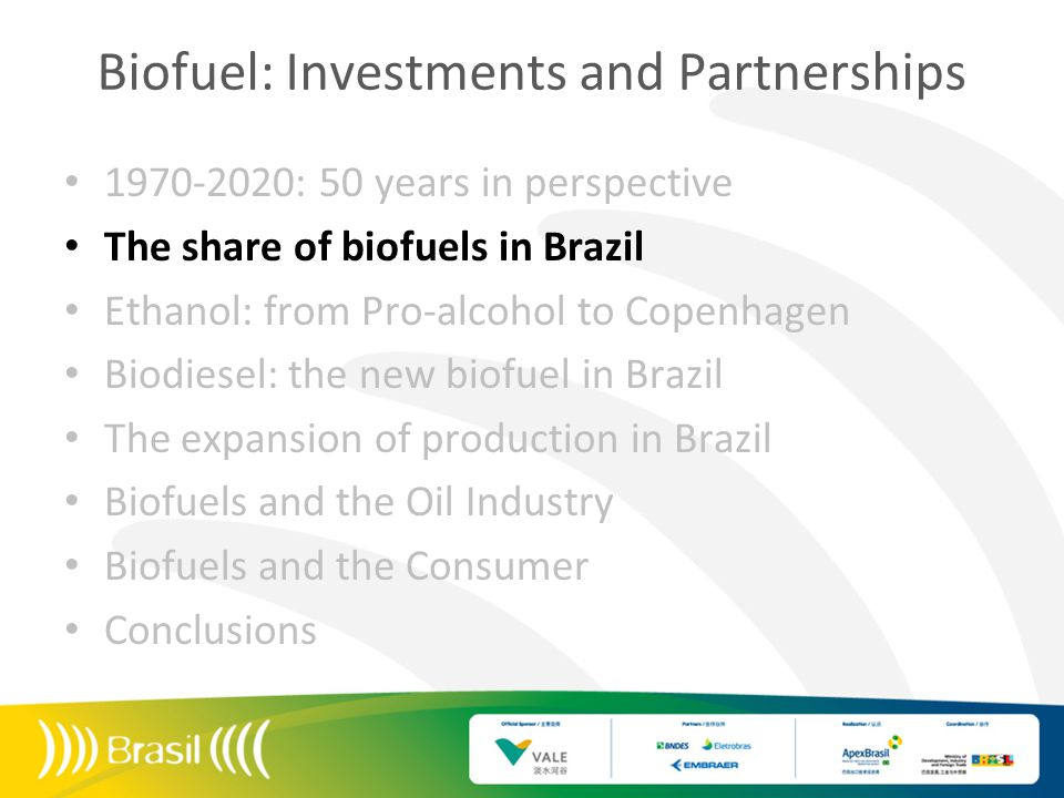 Biofuel: Investments and Partnerships 1970-2020: 50 years in perspective The share of biofuels in Brazil Ethanol: from Pro-alcohol to Copenhagen Biodiesel: the new biofuel in Brazil The expansion of production in Brazil Biofuels and the Oil Industry Biofuels and the Consumer Conclusions