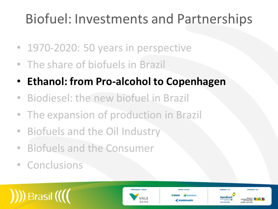 1975: Pro-alcohol 2003: Flex-Fuel 2004: Biodiesel US$Millions of m³ Source: BP Statistical Review 2009/ MME 2010 Price of oil (US$) Consumption of ethanol in Brazil (m3) Consumption of gasoline in Brazil (m3)
