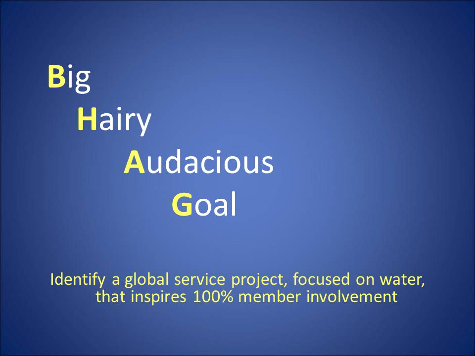 Big Hairy Audacious Goal Identify a global service project, focused on water, that inspires 100% member involvement