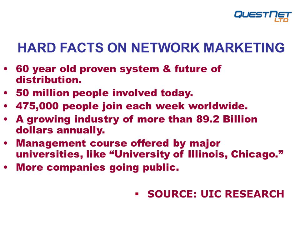 HARD FACTS ON NETWORK MARKETING 60 year old proven system & future of distribution.
