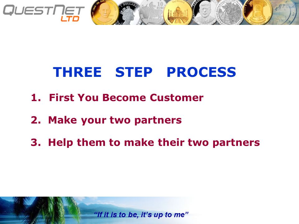If it is to be, it's up to me THREE STEP PROCESS 1.