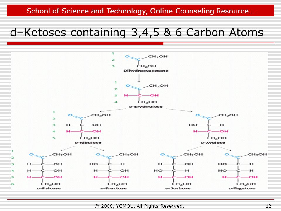 School of Science and Technology, Online Counseling Resource… d–Ketoses containing 3,4,5 & 6 Carbon Atoms © 2008, YCMOU. All Rights Reserved.12