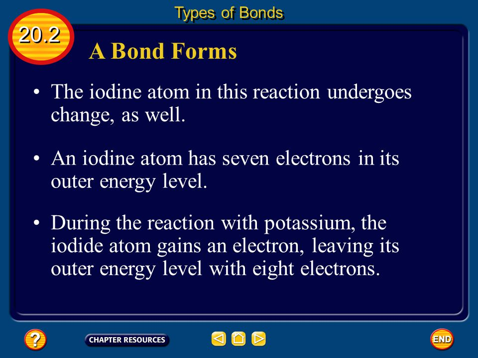 A Bond Forms The potassium atom has become an ion. 20.2 Types of Bonds When a potassium atom loses an electron, the atom becomes positively charged be