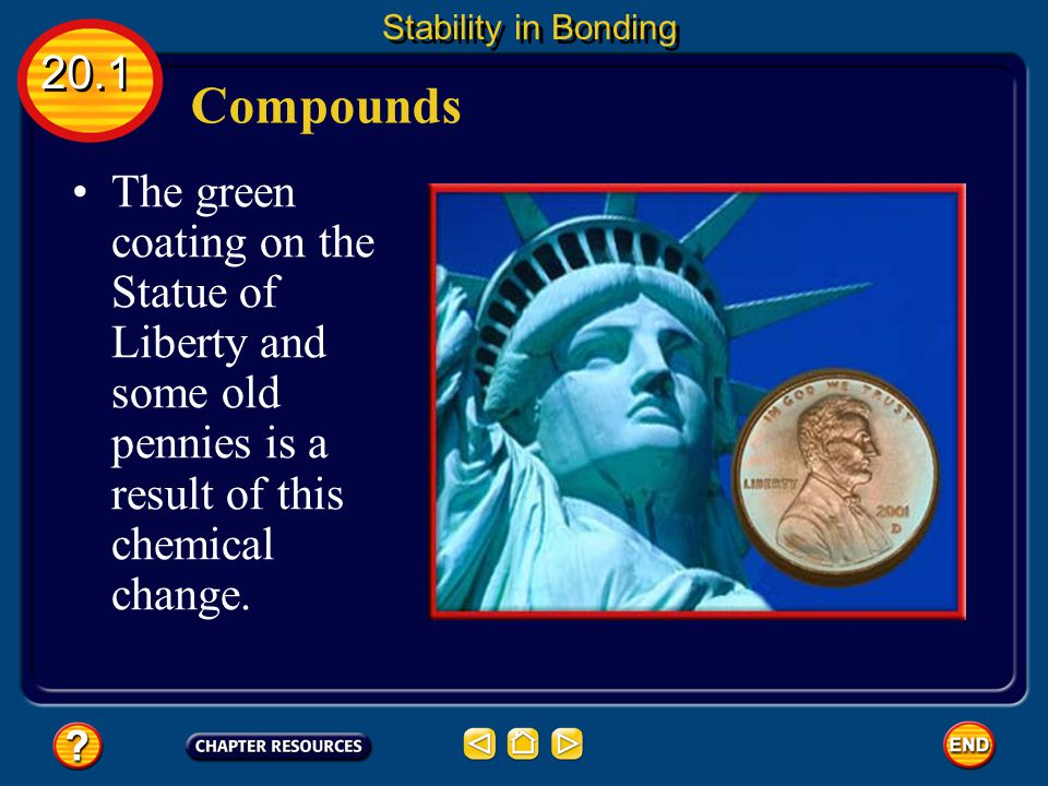 Compounds The green coating on the Statue of Liberty and some old pennies is a result of this chemical change.