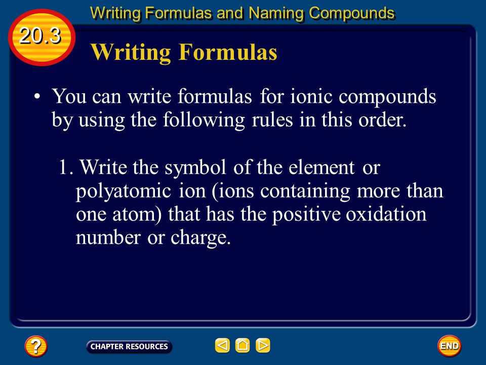 Compounds Are Neutral 20.3 Writing Formulas and Naming Compounds What if you have a compound like calcium fluoride.
