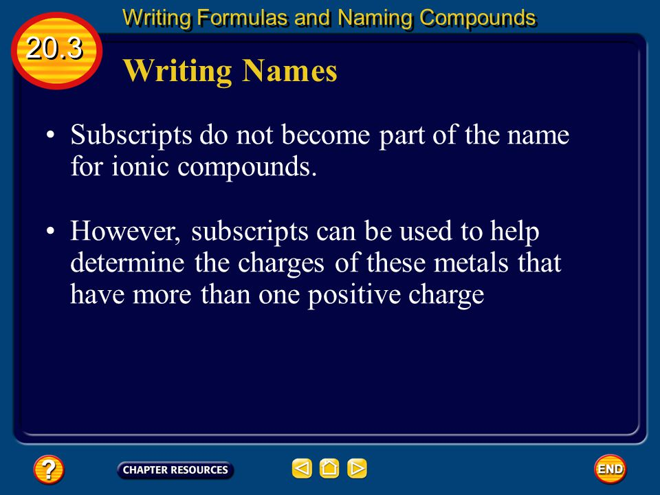 Writing Names 20.3 Writing Formulas and Naming Compounds 3. Write the root name of the negative ion. The root is the first part of the element's name.