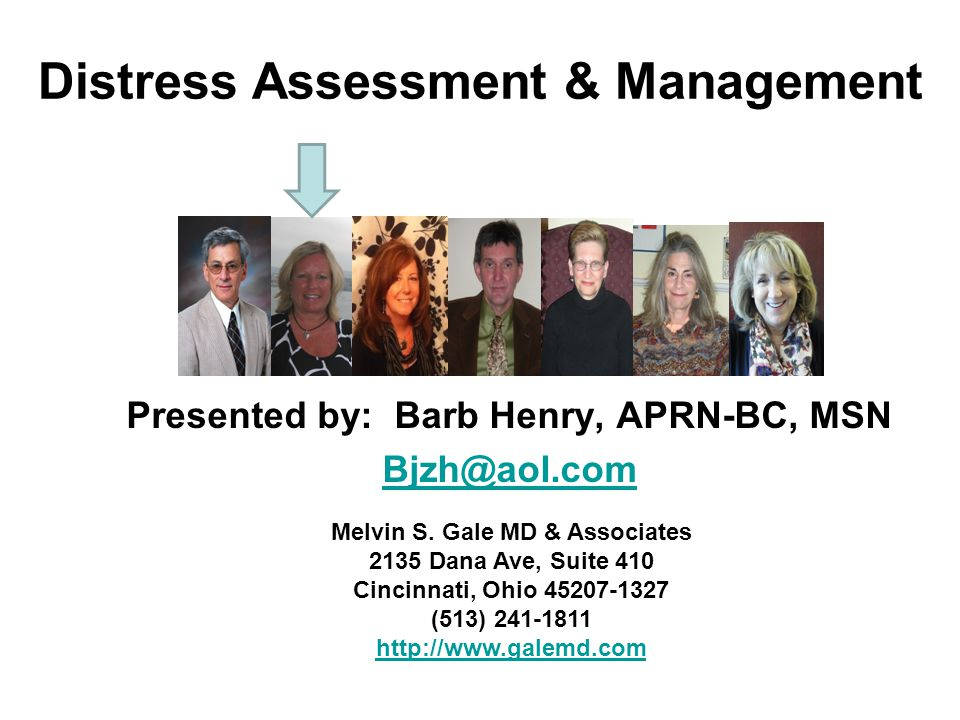 Distress Assessment & Management Presented by: Barb Henry, APRN-BC, MSN Bjzh@aol.com Melvin S.