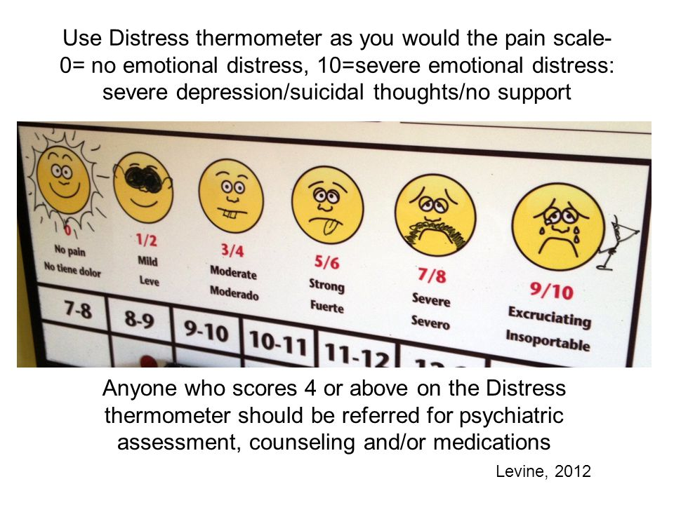 Use Distress thermometer as you would the pain scale- 0= no emotional distress, 10=severe emotional distress: severe depression/suicidal thoughts/no support Anyone who scores 4 or above on the Distress thermometer should be referred for psychiatric assessment, counseling and/or medications Levine, 2012